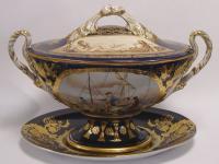 Casa Padrino Luxus Porzellan Suppenschüssel auf Teller - Barock Schüssel