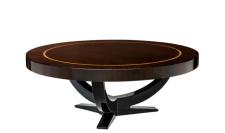 Casa Padrino Art Deco Luxus Couchtisch Durchmesser 100 x H. 38 cm - Wohnzimmer Salon Tisch - Hotel Tisch Möbel