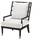 Casa Padrino Luxus Mahagoniholz Sessel Schwarz / Weiß 72 x 95 x H. 108, 5 cm - Hotel Möbel