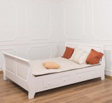 Casa Padrino Landhausstil Bett Altweiß 140 x 200 cm - Schlafzimmermöbel im Landhausstil