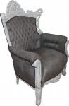 Casa Padrino Barock Sessel Al Capone Grau / Weiß - Wohnzimmer Sessel im Antik Stil