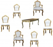 Casa Padrino Barock Esszimmer Set Gold/Weiss - Esstisch + 6 Stühle
