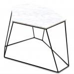 Casa Padrino Designer Couchtisch Weiß / Schwarz 64 x 48 x H. 40 cm - Luxus Wohnzimmertisch mit Marmorplatte