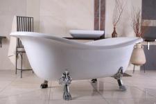 Freistehende Luxus Badewanne Jugendstil Paris Weiß/Silber 1880mm - Barock Badezimmer