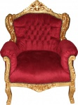 Casa Padrino Barock Sessel Lord Bordeaux Rot/Gold - Antik Stil