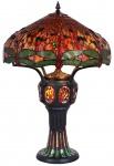 Casa Padrino Tiffany Tischleuchte Schwarz / Mehrfarbig Ø 57, 5 x H. 83 cm - Luxus Qualität