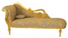 Casa Padrino Barock Luxus Chaiselongue Antik Gold-Türkis-Rot Muster / Gold - Golden Wings - Luxus Qualität