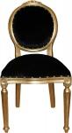 Casa Padrino Barock Medaillon Luxus Esszimmer Stuhl ohne Armlehnen in Schwarz / Gold - Limited Edition