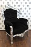 Barock Sessel King Schwarz/Silber - Möbel Antik Stil