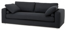 Casa Padrino Luxus Sofa Schwarz 222 x 100 x H. 80 cm - Hotel Möbel