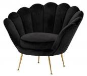 Casa Padrino Luxus Sessel Schwarz / Messing 96, 5 x 79 x H. 78 cm - Designer Hotel Möbel