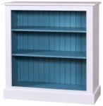 Casa Padrino Landhausstil Bücherschrank Weiß / Blau 102 x 35 x H. 102 cm - Wohnzimmermöbel im Landhausstil