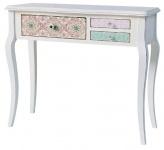 Casa Padrino Landhausstil Konsole Antik Weiß / Mehrfarbig 90 x 34 x H. 77 cm - Shabby Chic Möbel