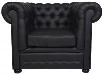 Casa Padrino Luxus Echtleder Sessel 115 x 93 x H. 84 cm - Verschiedene Farben - Chesterfield Möbel