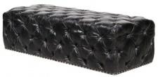 Casa Padrino Chesterfield Echtleder Fußhocker Vintage Schwarz 140 x 60 x H. 42 cm - Luxus Qualität