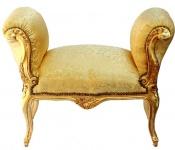 Casa Padrino Barock Schemel Hocker Gold Muster / Gold - Sitzbank