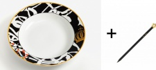 Harald Glööckler Porzellan Suppenteller 23 cm Mod1 + Luxus Bleistift Casa Padrino - Barock Dekoration