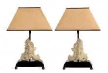 Casa Padrino Hotel Tischleuchten 2er Set in antik grau - Wohnzimmer Tischlampen