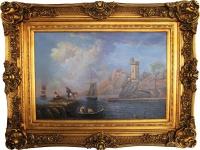 Handgemaltes Barock Öl Gemälde Meuterei Gold Prunk Rahmen 125 x 95 x 10 cm - Massives Material