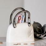 Designer Spardose Handtasche aus Keramik Weiss/Silber Höhe 18 cm, Breite 14 cm - Edel & Prunkvoll