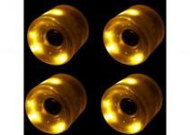 Koston Blank Cruiser LED Rollen Set Yellow 60mm / 78A - Longboard Cruiser Wheel Set (4 Rollen) inkl Abec 9 Kugellager