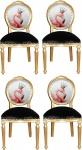 Casa Padrino Luxus Barock Esszimmer Set Flamingo mit Krone Gold / Schwarz / Mehrfarbig 48 x 50 x H. 98 cm - 4 handgefertigte Esszimmerstühle mit Bling Bling Glitzersteinen - Barock Esszimmermöbel