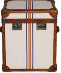 Casa Padrino Luxus Truhe Braun / Mehrfarbig 49 x 44 x H. 57 cm - Handgefertigte Echtleder Truhe im Kofferlook