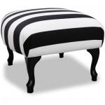 Casa Padrino Luxus Sitzhocker Schwarz / Weiß Streifen / Schwarz - Designer Stil Hocker - Möbel