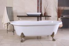 Freistehende Luxus Badewanne Jugendstil Milano Weiß/Altgold - Barock Badezimmer