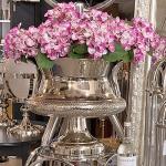 Casa Padrino Barock Blumenvase Cobra Messing vernickelt - Pflanzentopf - Hotel Dekoration - Blumengefäss