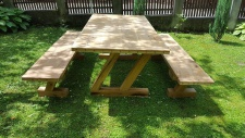 Casa Padrino Gartenmöbel Set Rustikal - Tisch + 2 Garten Bänke (Länge: 200 cm) - Eiche Massivholz - Modell Z