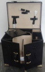 Casa Padrino Luxus Rindsleder Minibar / Kofferbar mit Zubehör Schwarz 41 x 32, 5 x H. 37 cm - Luxus Qualität