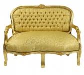 Casa Padrino Barock Kinder Sitzbank Gold Muster / Gold Antik Stil Kinder Sofa