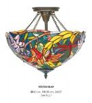 Casa Padrino Tiffany Deckenleuchte 40cm Gelb / Grün / Rot - Glas Mosaik Decken Lampe Leuchte Barock Restaurant Beleuchtung