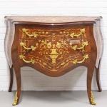 Casa Padrino Barockstil Kommode mit 3 Schubladen in braun Intarsien / gold 100 x 50 x H. 80 cm - Möbel im Antik Stil