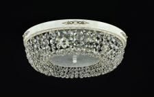 Casa Padrino Barock Kristall Decken Kronleuchter Cream Gold 45 x H 13 cm Antik Stil - Möbel Lüster Leuchter Hängeleuchte Hängelampe