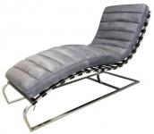 Casa Padrino Luxus Echtleder Lounge Sessel / Liege Grau 140 x 59 x H. 82 cm - Leder Art Deco Relax Sessel