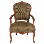 Casa Padrino Barock Salon Stuhl Braun Lederoptik / Braun - Möbel Antik Stil