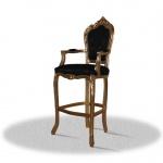 Casa Padrino Barock Hochstuhl Barstuhl Gold Schwarz 55 x 50 x H. 140 cm - Limited Edition