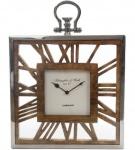 Casa Padrino Luxus Tischuhr / Wanduhr im Design einer antiken Taschenuhr Silber Naturfarben 30 x 5 x H. 40 cm - Dekorative Uhr mit einem Ziffernblatt aus unbehandeltem Holz