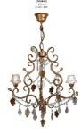 Pendelleuchte mit farbigen Glasperlen im Barock Stil, Durchmesser 46 cm, 3-flammig, Leuchte Lampe LPH344-3
