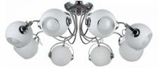 Casa Padrino Designer Deckenleuchte Silber / Weiß Ø 86 x H. 28 cm - Moderne Deckenlampe mit kugelförmigen Lampenschirmen