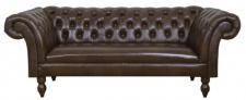Casa Padrino Luxus Echtleder 2er Sofa Dunkelbraun 180 x 90 x H. 80 cm - Wohnzimmermöbel im Chesterfield Design