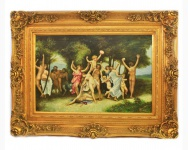 Handgemaltes Barock Öl Gemälde Familien Engel Bildniss 5 Gold Prunk Rahmen 130 x 100 x 10 cm - Massives Material