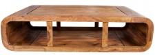 Casa Padrino Designer Massivholz Couchtisch Natur 100 x H. 30 cm - Salon Wohnzimmer Tisch - Unikat
