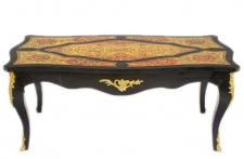 Casa Padrino Barock Boulle Couchtisch Schwarz / Gold / Rot 130 cm - Wohnzimmer Salon Tisch Möbel
