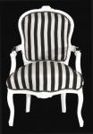 Casa Padrino - Barock Salon Stuhl Schwarz / Weiß Streifen / Weiß - Möbel gestreift