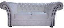 Casa Padrino Chesterfield Echtleder 2er Sofa Weiß 170 x 90 x H. 80 cm - Luxus Kollektion