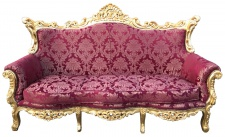 Casa Padrino Barock 3er Sofa Bordeaux Rot Muster / Gold - Wohnzimmer Möbel Couch Lounge