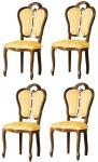 Casa Padrino Luxus Barock Esszimmer Set Braun / Weiß / Gold 48 x 43 x H. 104, 5 cm - 4 Esszimmerstühle - Barock Esszimmermöbel